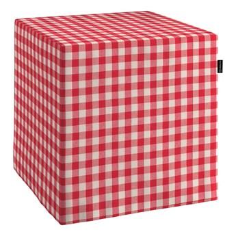 Pufa kostka, czerwono biała kratka (1,5x1,5cm), 40 × 40 × 40 cm, Quadro