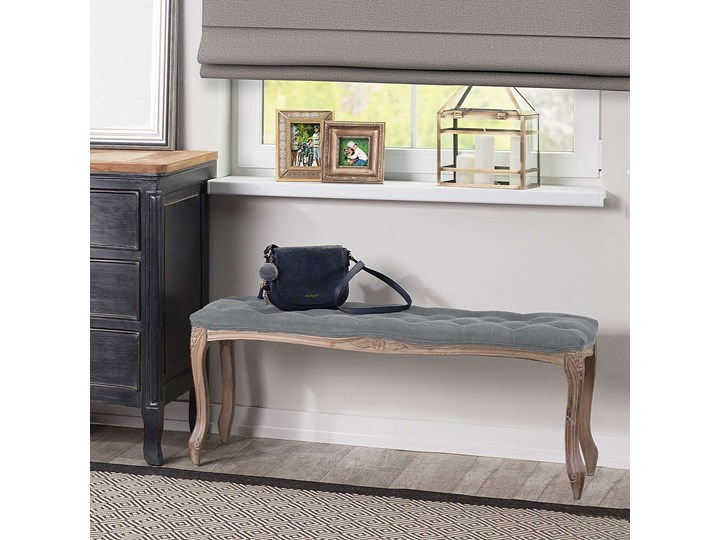 Ławka  Isacco 114x38x46cm grey, 114 × 38 × 46 cm Pikowana Kolor Szary Pomieszczenie Sypialnia