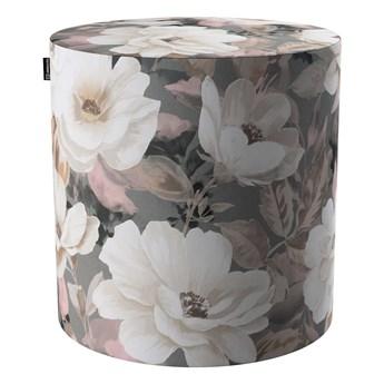 Puf Barrel, kremowe i różowe kwiaty na szarym tle , ø40, wys. 40 cm, Gardenia