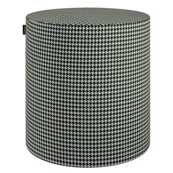 Puf Barrel, czarno-biała pepitka, ø40, wys. 40 cm, Black & White