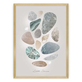 Plakat Pastel Stones, 30 x 40 cm, Ramka: Złota