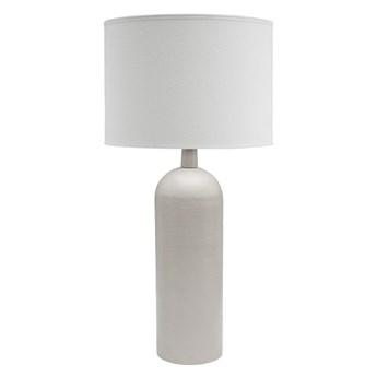 Biała metalowa lampa stołowa Riley z abażurem