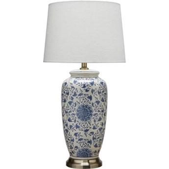 Ceramiczna lampa stołowa Lee 68cm niebieska kwiaty