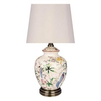 Ceramiczna lampa stołowa w kwiaty i ptaki Eden