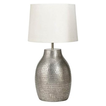 Duża lampa stojąca Humphrey srebrna z abażurem