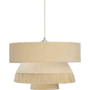 Lampa abażurowa retro Alexis aksamit kremowa