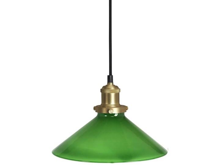 Szklana lampa wisząca stożek August zielona 25cm Lampa z kloszem Styl Industrialny Metal Szkło Mosiądz Kategoria Lampy wiszące