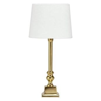 Złota lampa stołowa Linne z białym abażurem