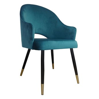 Marine upholstered chair DIUNA material MG-20 petrol with gold legs