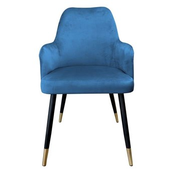 Blue upholstered PEGAZ chair material MG-33 with golden leg