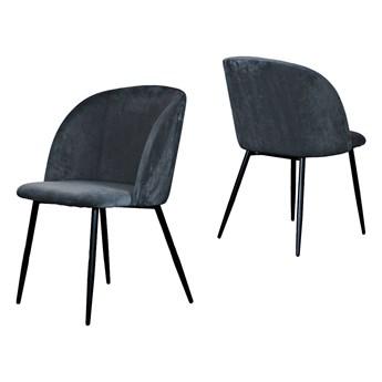 Szare tapicerowane krzesło fotel GLORIA nogi czarne