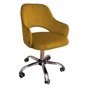 Yellow upholstered swivel armchair STAR MG-15 material