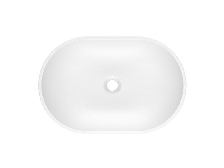 Umywalka nablatowa OLIB 60 Biały Kamień naturalny Owalne Szerokość 60 cm Nablatowe Kategoria Umywalki