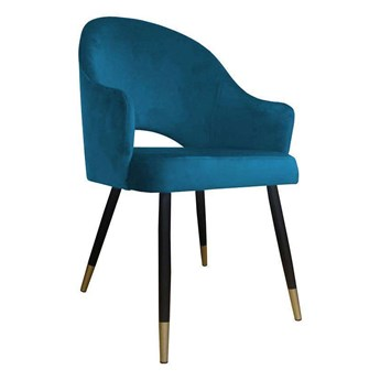 Blue upholstered chair DIUNA armchair material MG-33 with gold legs
