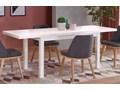 Minimalistyczny stół rozkładany Selen 2X - biały Wysokość 76 cm Długość 80 cm  Szerokość 80 cm Długość 220 cm Styl Skandynawski