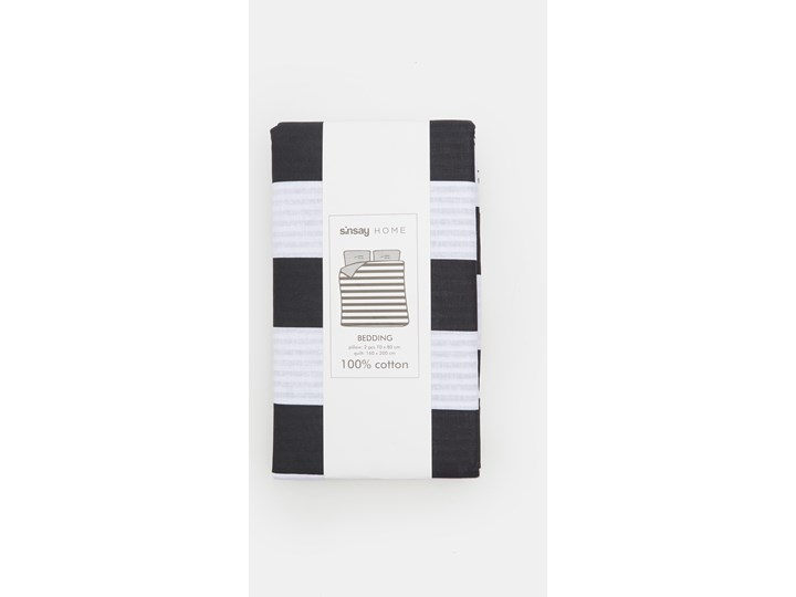 Sinsay - Komplet pościeli z bawełny 160x200 - Czarny Bawełna 160x200 cm Kategoria Komplety pościeli