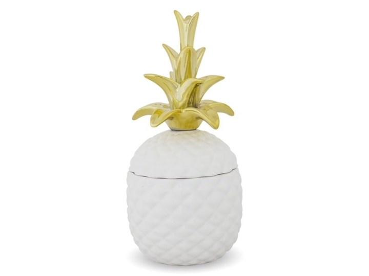 POJEMNIK CERAMICZNY BIAŁO ZŁOTY W KSZTAŁCIE ANANASA WYBIERZ ROZMIAR  25x12x12cm Ceramika Kolor Biały