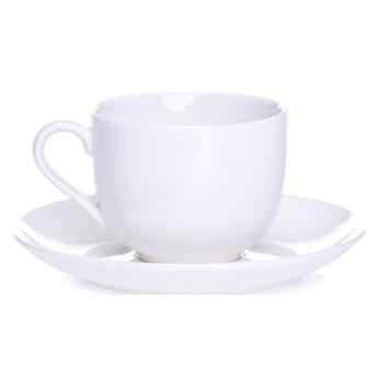 Filiżanka ze spodkiem DUKA FELICIA 130 ml biała porcelana