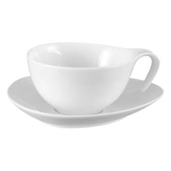 Filiżanka ze spodkiem DUKA TIME 150 ml biała porcelana