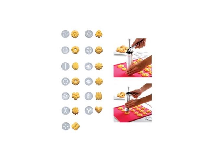 Maszynka do ciastek DUKA COOKIES 21 końcówek srebrna stal nierdzewna Dekoratory Kolor Srebrny Kategoria Dekoracja wypieków