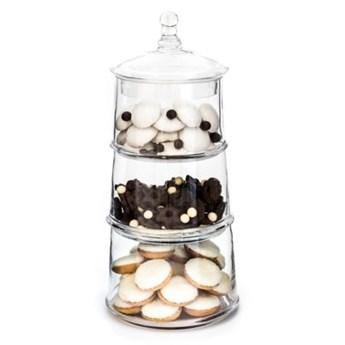 Słoik na ciastka DUKA CANDY 3-poziomowy 40 cm transparentny szkło