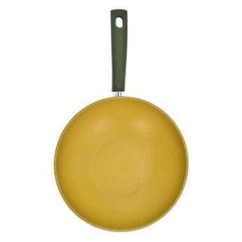 Wok z powłoką oliwną DUKA OLLI 28 cm żółty zielony stal nierdzewna