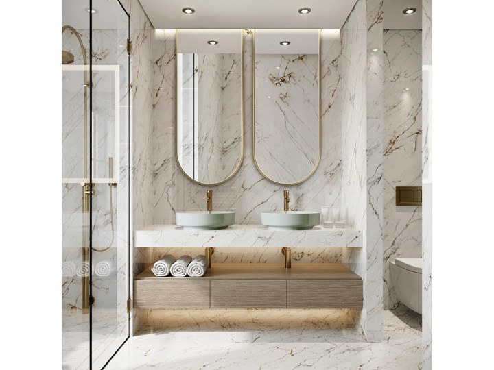Lustro Portal – złoty łuk Nieregularne Lustro z ramą Ścienne Pomieszczenie Sypialnia
