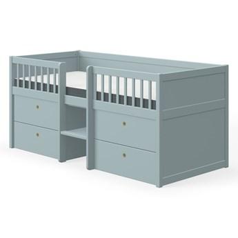 Niebieskie łóżko dziecięce z drewna sosnowego z szufladami Flexa