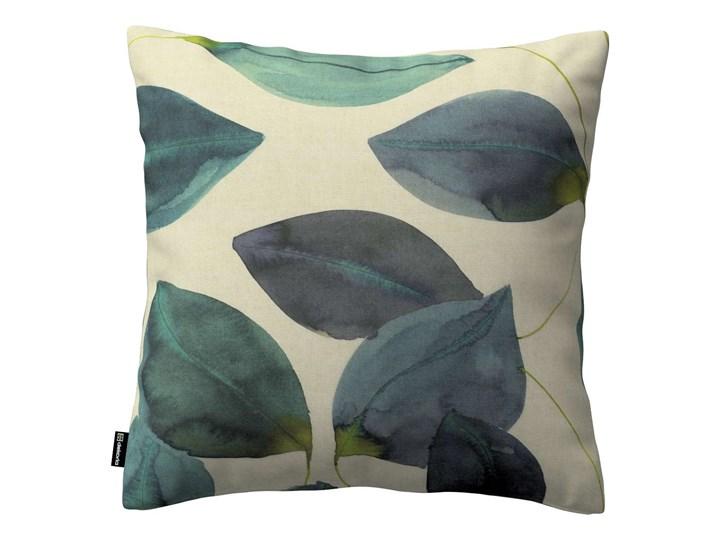 Poszewka Kinga na poduszkę, liście w kolorze szmaragdowej zieleni z fioletem na lnianym tle, 43 × 43 ...