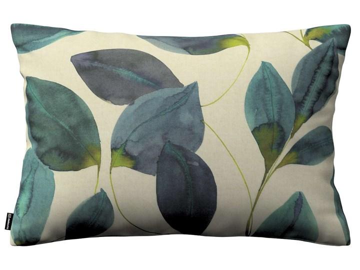 Poszewka Kinga na poduszkę prostokątną, liście w kolorze szmaragdowej zieleni z fioletem na lnianym ...
