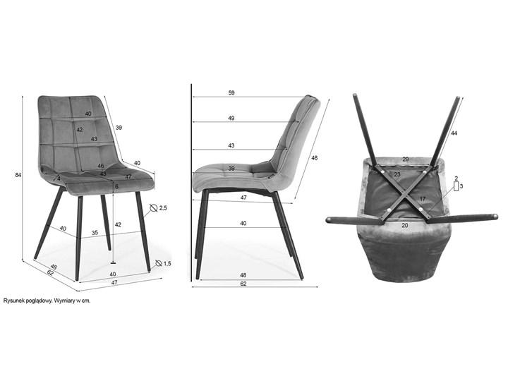 KRZESŁO TAPICEROWANE DC-7020 JASNY SZARY WELUR Tworzywo sztuczne Styl Nowoczesny Metal Tkanina Kategoria Krzesła kuchenne