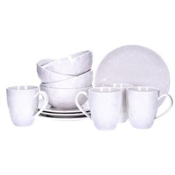 Zestaw śniadaniowy różyczki DUKA SARA 12 elementów porcelana