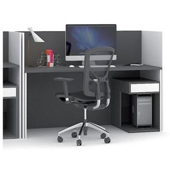 Zestaw stołu z regulacją wysokości ze ściankami działowymi, biały/grafitowy