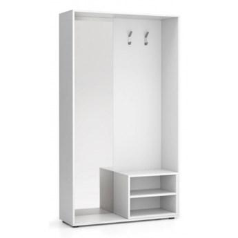 Ścianka na ubrania (wieszak) ze zwierciadłem, 2 haczyki, biała/biała
