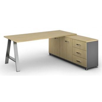 Biurowy stół roboczy ALFA A z szafką po prawej, blat 1800 x 800 mm, brzoza
