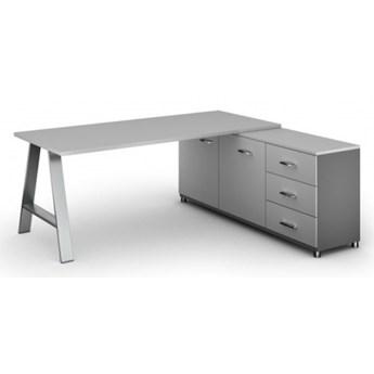 Biurowy stół roboczy ALFA A z szafką po prawej, blat 1800 x 800 mm, szary