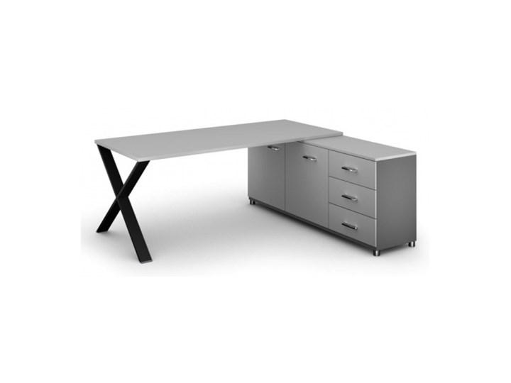Biurowy stół roboczy ALFA X z szafką po prawej, blat 1800 x 800 mm, wzór szary Głębokość 140 cm Szerokość 180 cm Szerokość 140 cm Głębokość 180 cm Płyta MDF Głębokość 80 cm Biurko tradycyjne Głębokość 68 cm Styl Industrialny