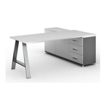 Biurowy stół roboczy ALFA A z szafką po lewej, blat 1800 x 800 mm, biały