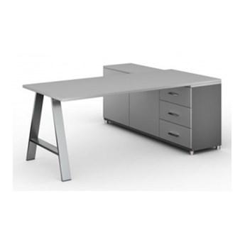 Biurowy stół roboczy ALFA A z szafką po lewej, blat 1800 x 800 mm, szary