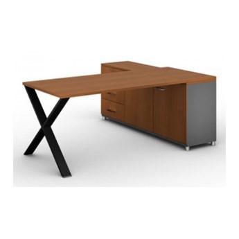 Biurowy stół roboczy ALFA X z szafką po lewej, blat 1800 x 800 mm, wzór buk