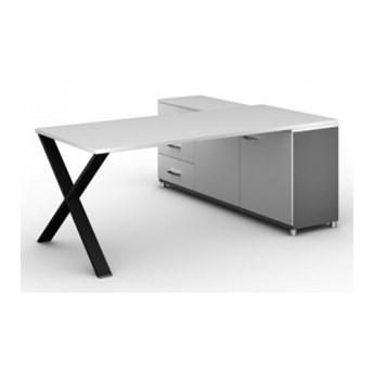 Biurowy stół roboczy ALFA X z szafką po lewej, blat 1800 x 800 mm, wzór biały