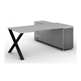 Biurowy stół roboczy ALFA X z szafką po lewej, blat 1800 x 800 mm, wzór szary