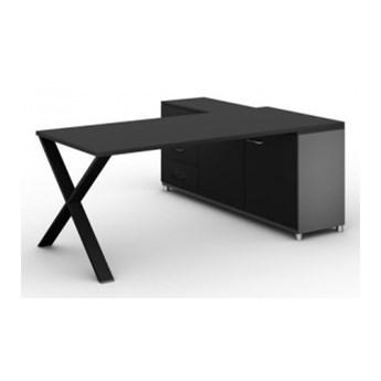 Biurowy stół roboczy ALFA X z szafką po lewej, blat 1800 x 800 mm, grafitowy