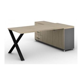 Biurowy stół roboczy ALFA X z szafką po lewej, blat 1800 x 800 mm, wzór naturalny dąb