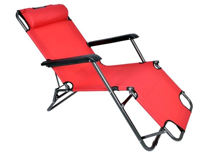 Fotel Leżak ogrodowy LEON CZERWONY Kategoria Leżaki ogrodowe Składane Metal Styl Minimalistyczny