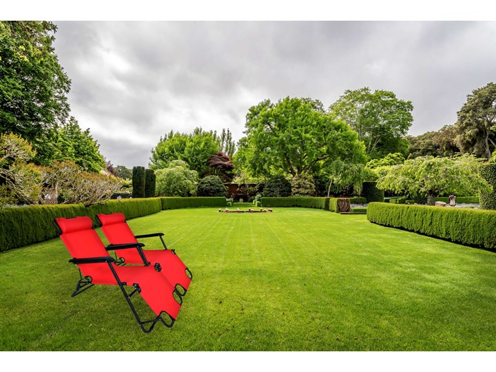 Fotel Leżak ogrodowy LEON CZERWONY Metal Kategoria Leżaki ogrodowe Składane Styl Minimalistyczny