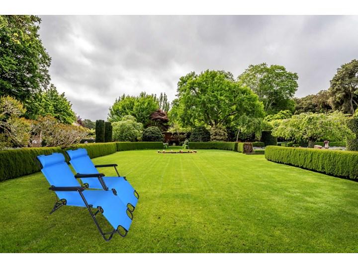 Fotel Leżak ogrodowy LEON JASNO NIEBIESKI Składane Metal Kategoria Leżaki ogrodowe