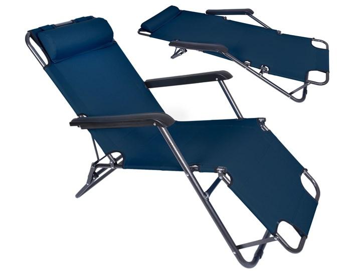 Fotel Leżak ogrodowy LEON GRANATOWY Metal Składane Kategoria Leżaki ogrodowe
