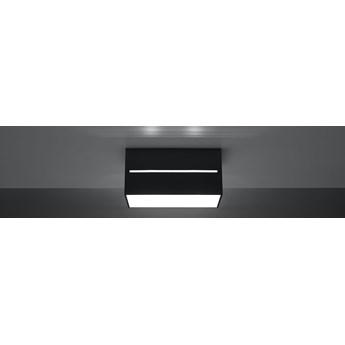 SOLLUX Nowoczesny Plafon z liniowym prześwitem LOBO MAXI Czarny Lampa Sufitowa Prostokąt