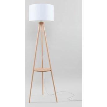 Stylowa Skromna Lampa podłogowa AUSTIN 1 podstawa naturalne drewno Oryginalna lampa drewniana z białym abażurem Idealna do salonu,  sypialni, pokoju młodzieżowego Oprawa stojąca żarówka E27 Oświetlenie SOLLUX